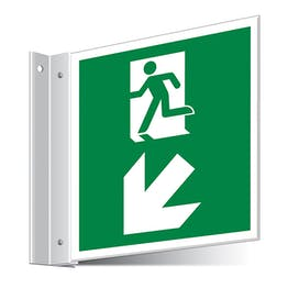 Fire Exit Down Left/Right Corridor Sign
