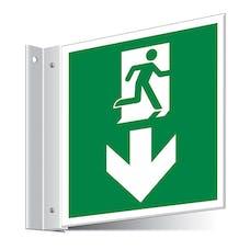 Fire Exit Arrow Down Corridor Sign