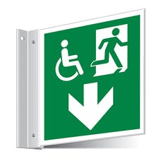 Fire Exit WChair Arrow Down Corridor Sign