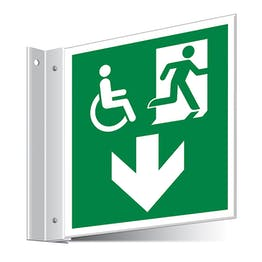 Fire Exit WChair Arrow Down Corridor Sign