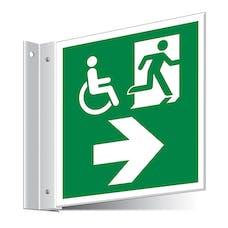 Fire Exit WChair Right/Left Corridor Sign