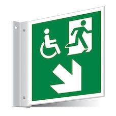 Fire Exit WChair Down Right/Left Corridor Sign