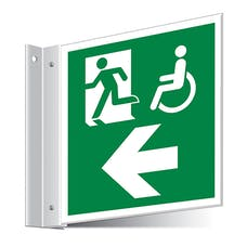 Fire Exit WChair Left/Right Corridor Sign