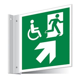 Fire Exit WChair Up Right/Left Corridor Sign
