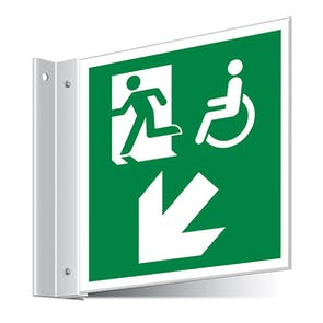 Fire Exit WChair Down Left/Right Corridor Sign