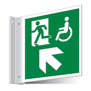 Fire Exit WChair Up Left/Right Corridor Sign