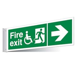 Fire Exit WChair Right/Left Corridor Sign - Landscape