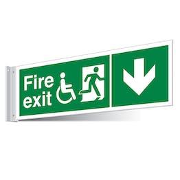 Fire Exit WChair Arrow Down Corridor Sign - Landscape