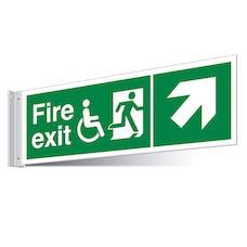 Fire Exit WChair Up Right/Left Corridor Sign - Landscape