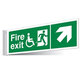 Fire Exit WChair Up Right/Left Corridor Sign - Landscape