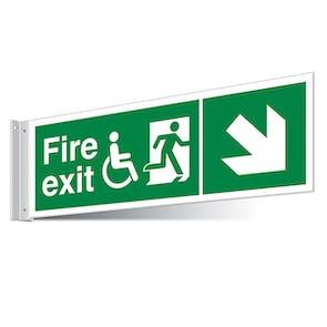 Fire Exit WChair Down Right/Left Corridor Sign - Landscape