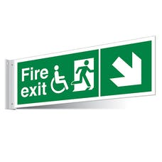 Fire Exit WChair Down Right/Left Corridor Sign - Landscape
