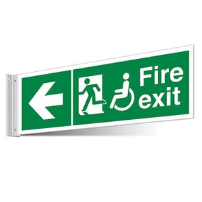 Fire Exit WChair Left/Right Corridor Sign - Landscape
