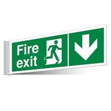 Fire Exit Arrow Down Corridor Sign - Landscape