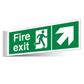 Fire Exit Up Right/Left Corridor Sign - Landscape
