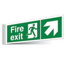 Fire Exit Up Right/Left Corridor Sign - Landscape