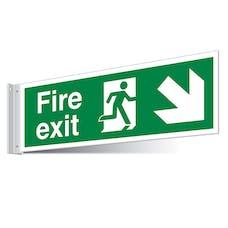 Fire Exit Down Right/Left Corridor Sign - Landscape