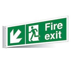 Fire Exit Down Left/Right Corridor Sign - Landscape