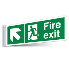 Fire Exit Up Left/Right Corridor Sign - Landscape
