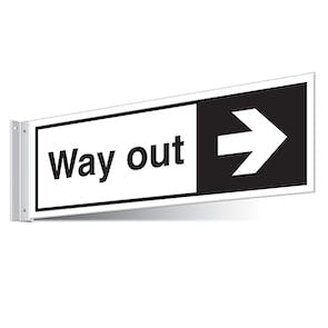 Way Out Right/Left Corridor Sign
