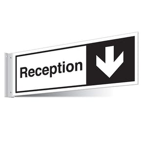Reception Arrow Down Corridor Sign