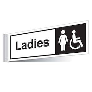Female Disabled Toilets Corridor Sign - Landscape