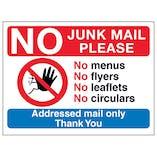 No Access Symbol: No Junk Mail Please, No Menus, No Flyers...