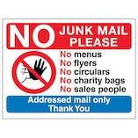 No Access Symbol: No Junk Mail Please, No Menus, No...