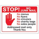 Stop! No Junk Mail, No Menus...Addressed Mail Only, Thank You