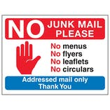 Stop Hand Symbol: No Junk Mail Please, No Menus, No Flyers...