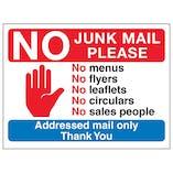 Stop Hand Symbol: No Junk Mail Please, No Menus...