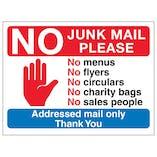 Stop Hand Symbol: No Junk Mail Please, No Menus, No...