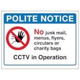Polite Notice, No Junk Mail, Menus...CCTV in Operation