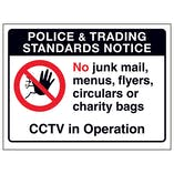 Police & Trading...No Junk Mail, Menus...CCTV in Operation