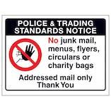 Police & Trading Standards Notice, No Junk Mail, Menus...