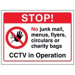 Stop! No Junk Mail, Menus, Flyers...CCTV in Operation