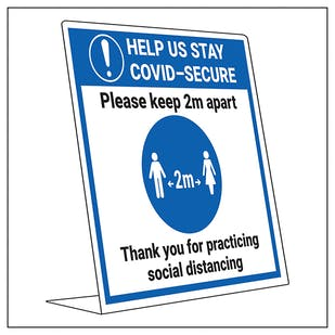 COVID-Secure Desk Sign - Keep 2m Apart