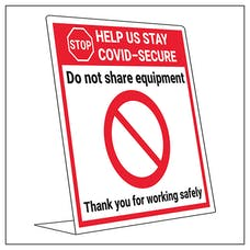 COVID-Secure Desk Sign - Do Not Share Equipment