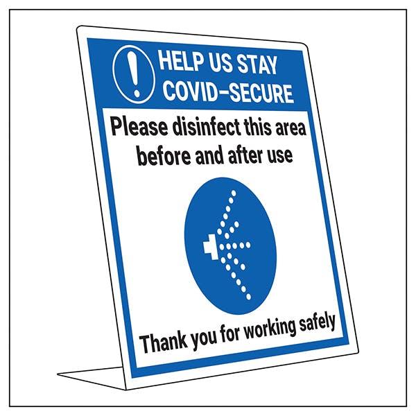 COVID-Secure Desk Sign - Disinfect Area