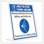 COVID-Secure Desk Sign - Disinfect Area
