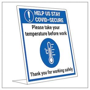 COVID-Secure Desk Sign - Take Temp Before Work