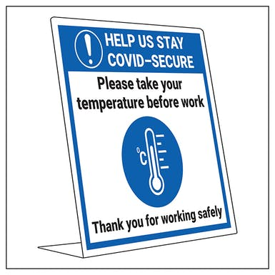 COVID-Secure Desk Sign - Take Temp Before Work