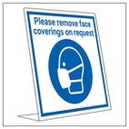 Covid Retail Desk Sign - Remove Face Coverings