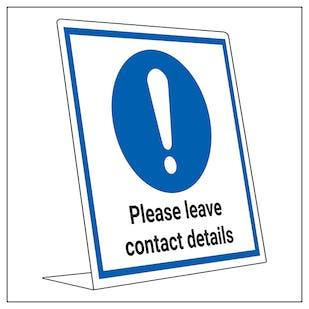 COVID-Secure Desk Sign - Please Leave Contact Details