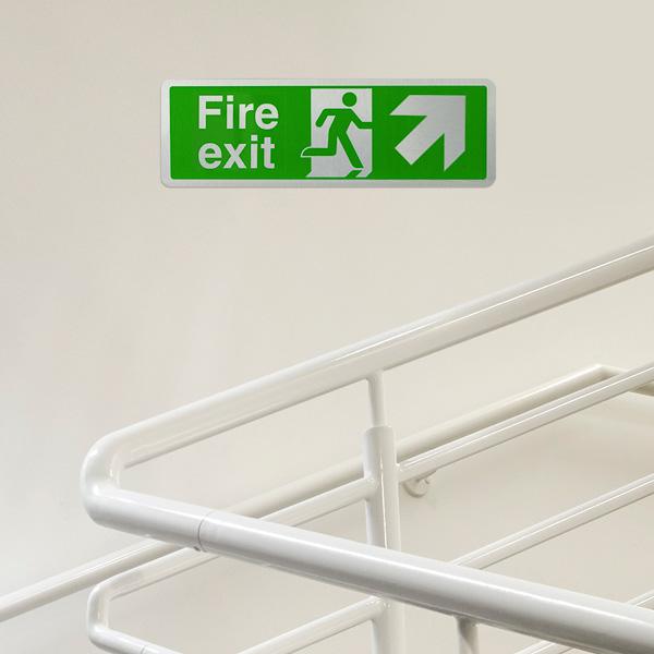 Fire Exit Arrow Up Right - Aluminium Effect