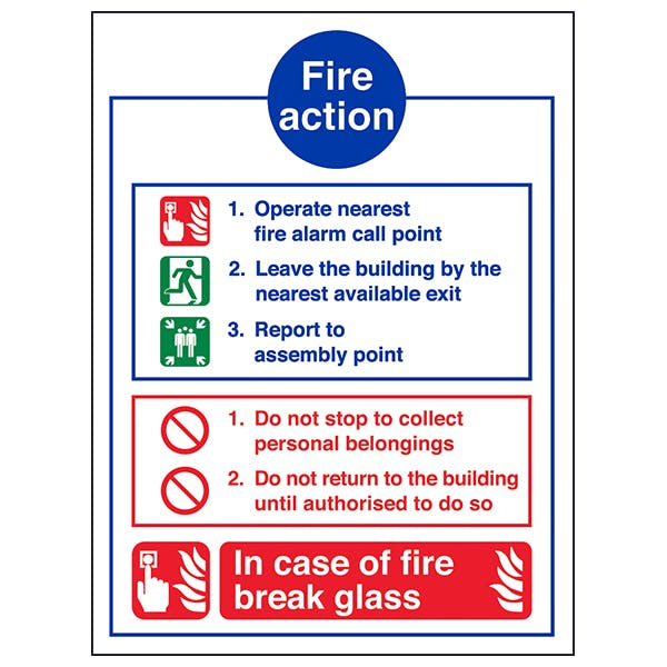 Fire Action Notice - In Case Of Fire Break Glass