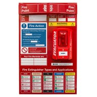 Fire Point Board - Break Glass Alarm & 9 Point Fire Action Notice
