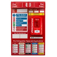 Fire Point Board - Break Glass Alarm & 6 Point Fire Action Notice