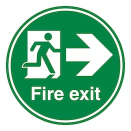 Fire Exit Arrow Right - Temporary Floor Sticker
