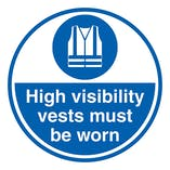 High Visibility Vests Must Be Worn - Temporary Floor Sticker